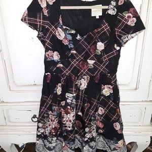Plaid floral cotton fit flare dress